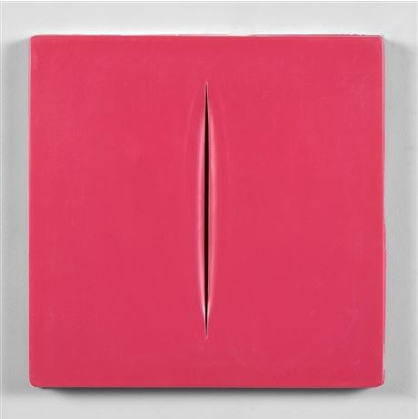 Concetto Spaziale (pink) by Lucio Fontana