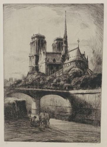 Notre Dame Au Soleil Couchant, Paris by Frank Armington