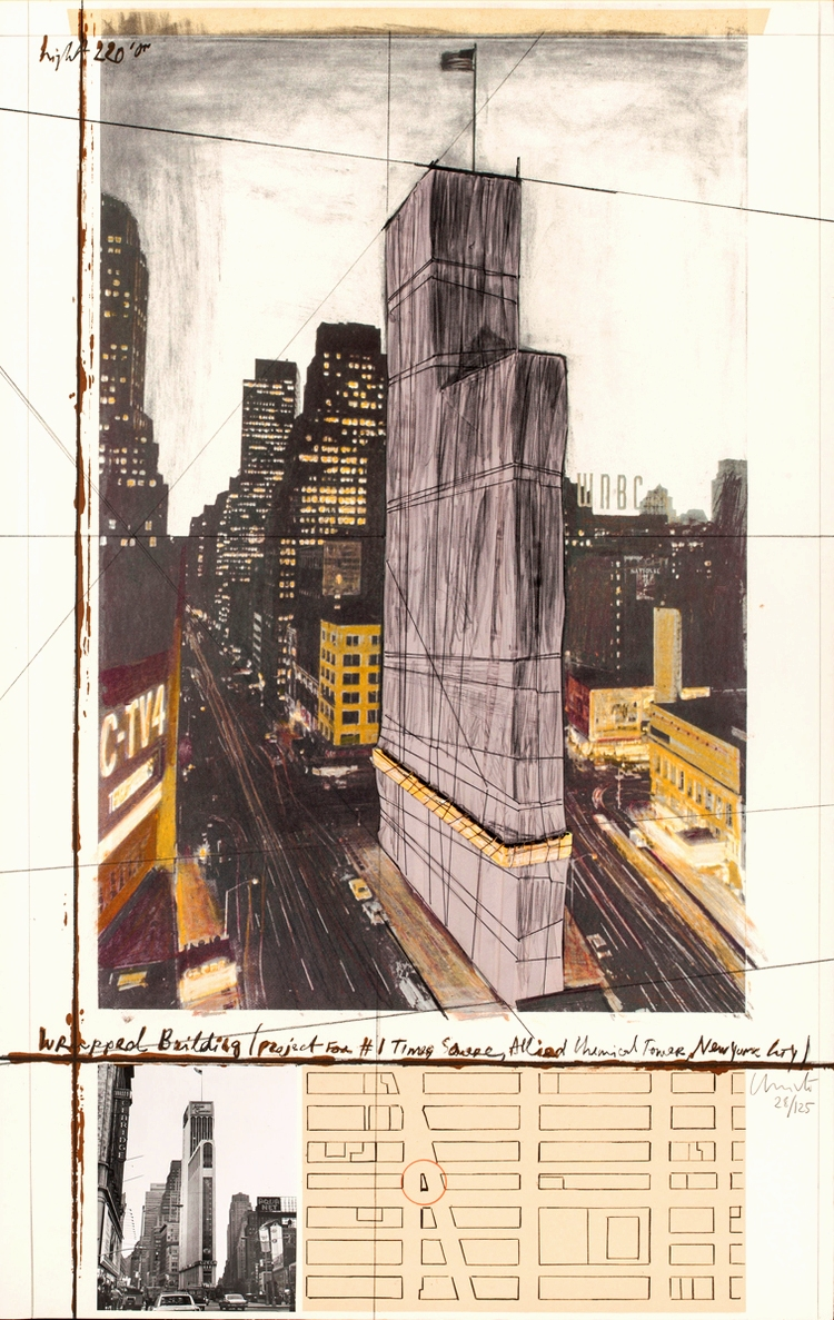 Wrapped Building, Project For #1 Times Square, Allied Chemical Tower, New York City by Christo and Jeanne-Claude