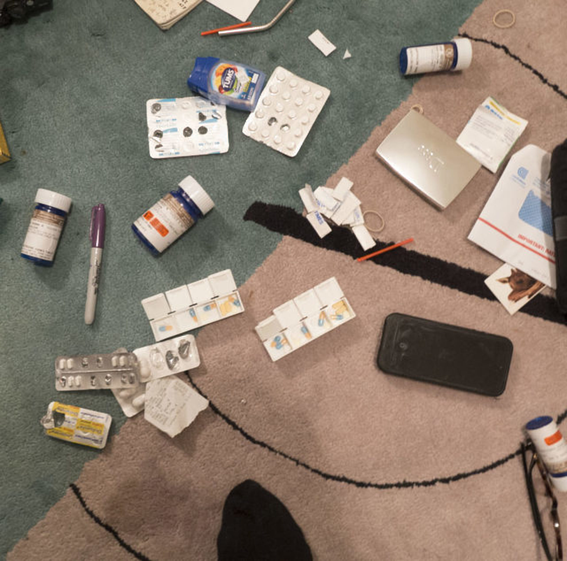 Aperture Drugs On The Rug. New York City, Usa by Nan Goldin