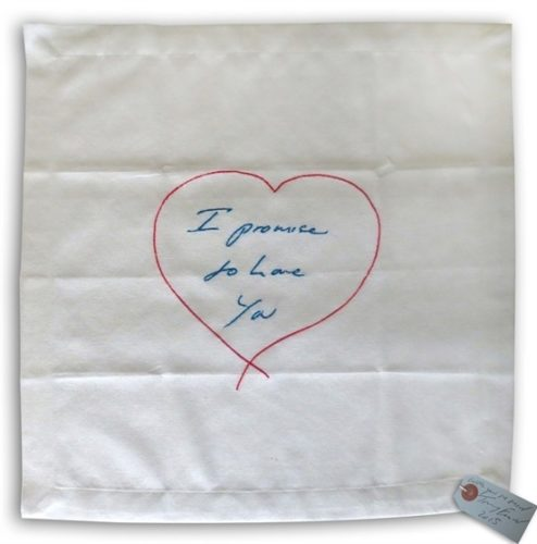 I Promise To Love You – Embroidered Napkin by Tracey Emin RA at