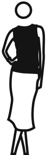 Elly Skirt Top Hand On Hip Legs Crossed by Julian Opie