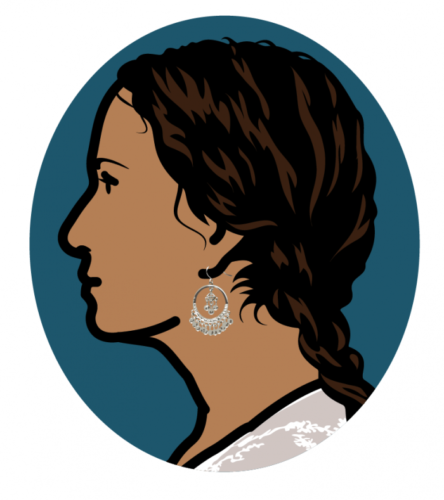 Ludivine, Writer, Left Profile by Julian Opie