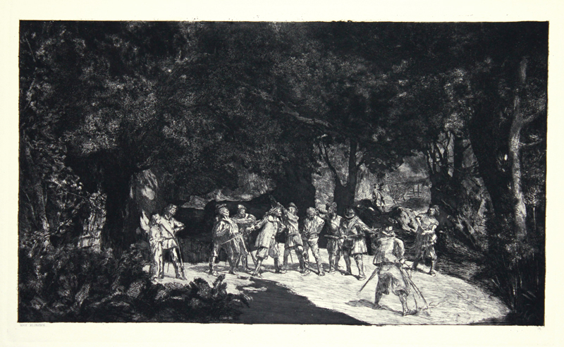 Simplicius Amongst The Soldiers; Plate Ix From Intermezzi, Opus Iv by Max Klinger at