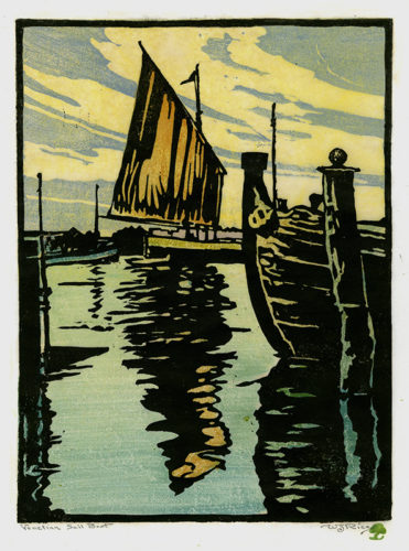 Venetian Sail Boat (a.k.a. Canal In Venice) by William Seltzer Rice at