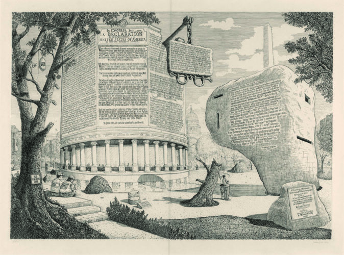 Proposal For A Monument To The Declaration Of Independence (and A Pavilion To Frederick Douglass) by Sandow Birk at Catharine Clark Gallery