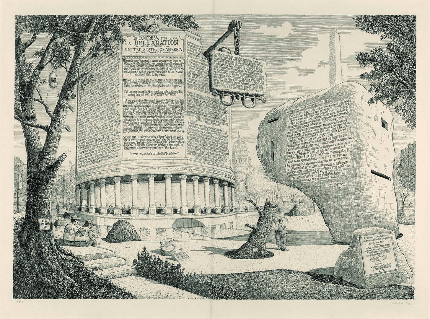 Proposal For A Monument To The Declaration Of Independence (and A Pavilion To Frederick Douglass) by Sandow Birk