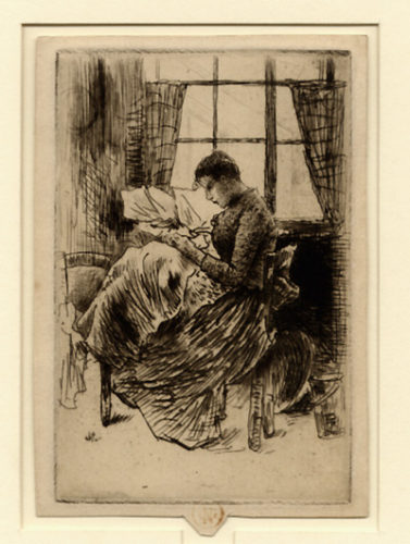 Jeune Fille Cousant by Norbert Goeneutte at