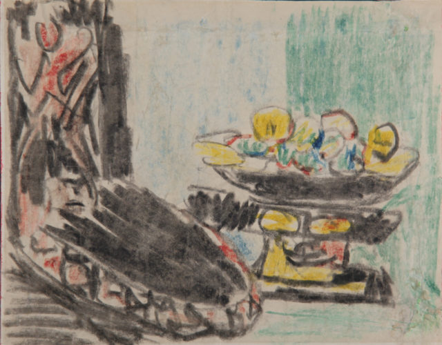 Stillleben Neben Geschnitztem Stuhl by Ernst Ludwig Kirchner