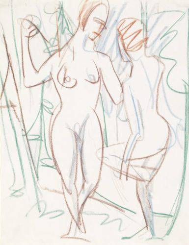 Zwei Mädchen Im Sertig-tal by Ernst Ludwig Kirchner at