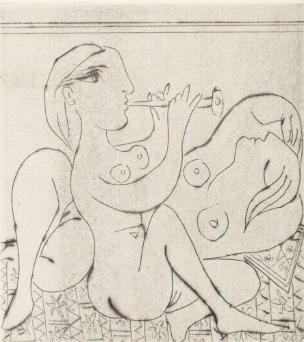 Flûtiste Et Dormeuse Ii by Pablo Picasso