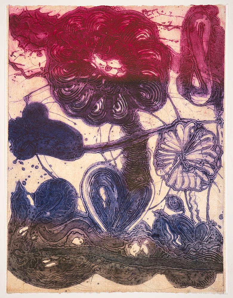 Garden (daisy, Magenta, Violet, Pheasant) by Catherine Howe