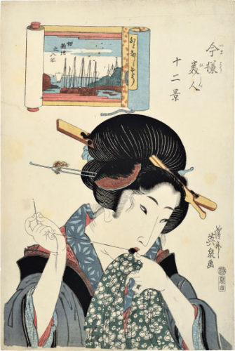 Twelve Views Of Modern Beauties: Boats On The River At Tsukuda Shinchi, The Gentle Type, Mending by Keisai Eisen