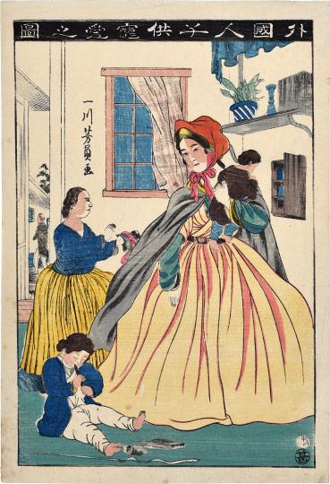 Foreigner Loving Children by Utagawa Yoshikazu