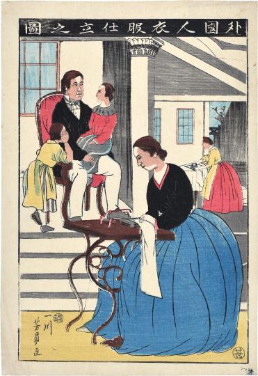 Foreigner Making Clothing by Utagawa Yoshikazu