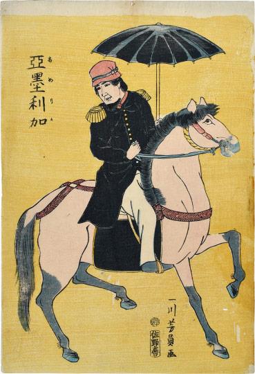 American On Horse by Utagawa Yoshikazu