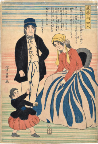 American Family With Dancing Daughter by Utagawa Yoshikazu