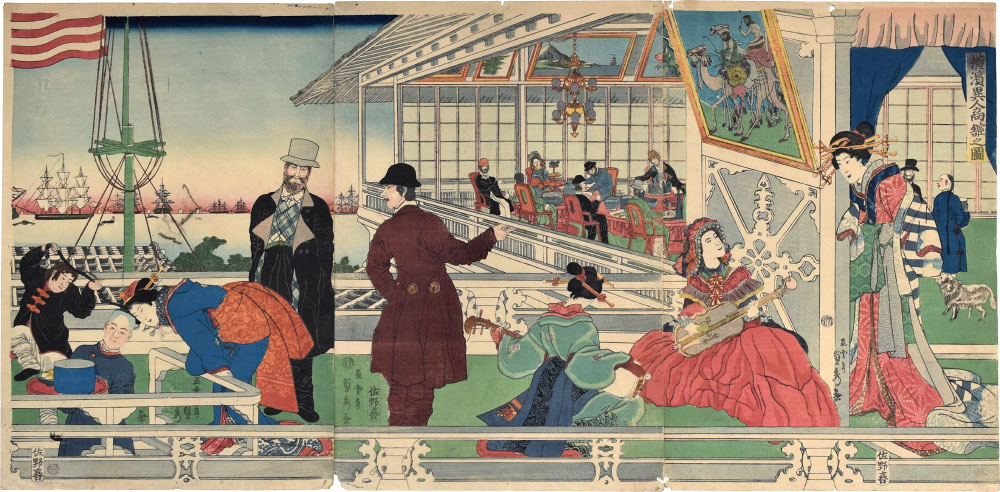 Home Of A Foreign [american] Merchant In Yokahama by Utagawa Sadahide