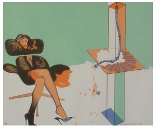Young Woman Contemplating Sculpture by Allen Jones