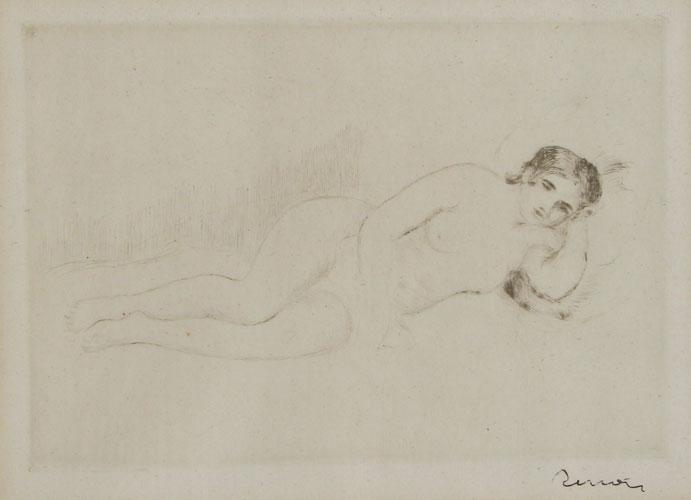 Femme Nue Couchée (tournée à Droite) 1re Planche by Pierre Auguste Renoir at