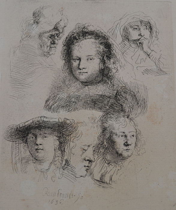 Studies Of The Head Of Saskia And Others by Harmensz van Rijn Rembrandt