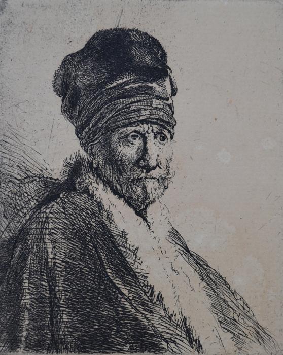 Bust Of A Man Wearing A High Cap, Three-Quarters Right by Harmensz van Rijn Rembrandt