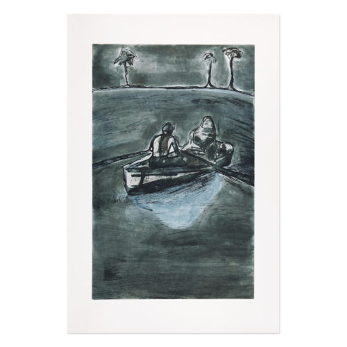 Two People At Night (indigo) by Peter Doig