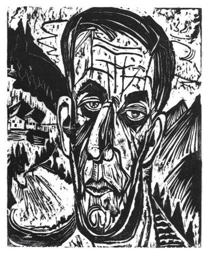 Kopf Henry Van De Velde, Hell. – Van De Felde Zwischen Bergen (portrait Of Henry Van De Felde... by Ernst Ludwig Kirchner at