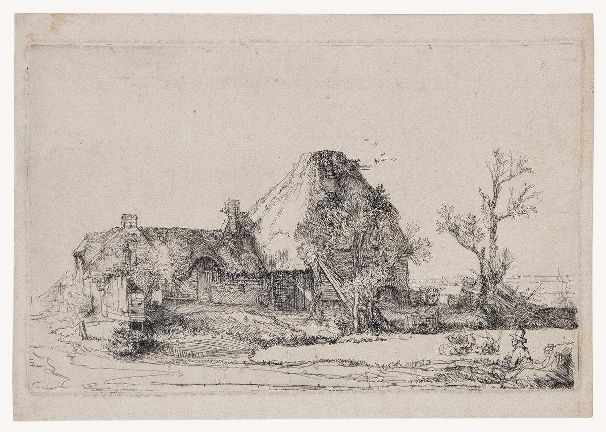 Cottage And Farm Buildings With A Man Sketching by Harmensz van Rijn Rembrandt