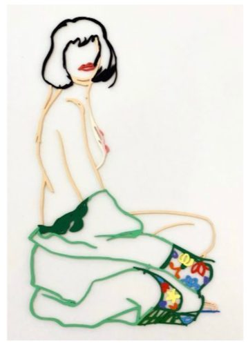 Monica With Robe Half Off by Tom Wesselmann