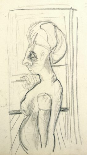 Untitled (female Nude In Front Of An Open Window) by Fritz Winter