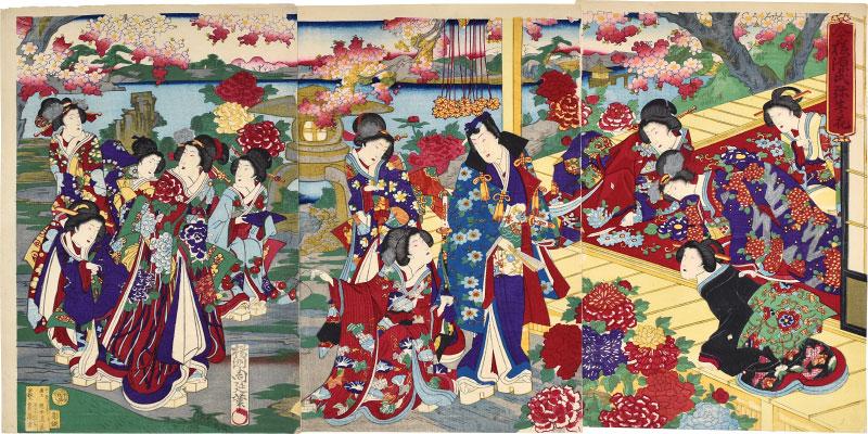 Fashionable Genji In The  Third Month, Flowers by Yoshu Chikanobu at Scholten Japanese Art