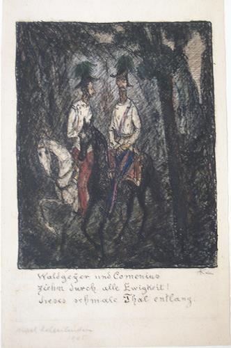 Zwei Reiter (waldgeyer Und Comenius) (two Horsemen) by Alfred Kubin