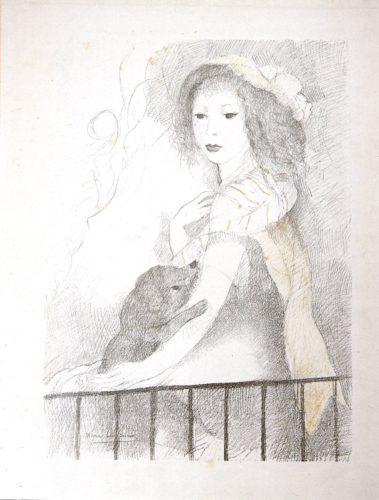 Selfportrait With A Baby Dog by Marie Laurencin at