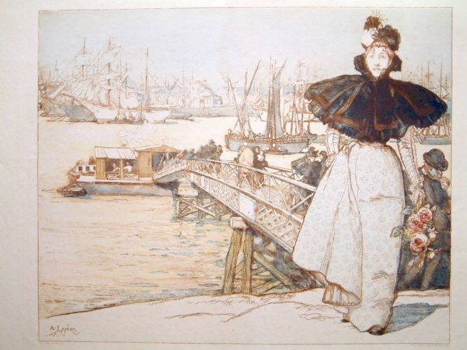 Woman By A Jetty by Auguste Louis Lepere at