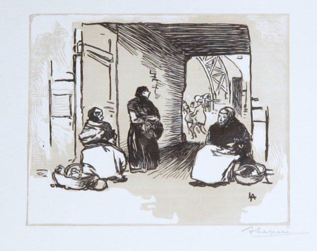 Marchandes Au Panier Sous Une Porte, Rue Mauconseil by Auguste Louis Lepere at