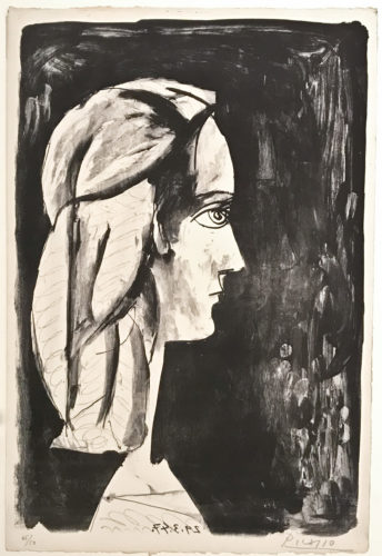 Profil Au Fond Noir by Pablo Picasso