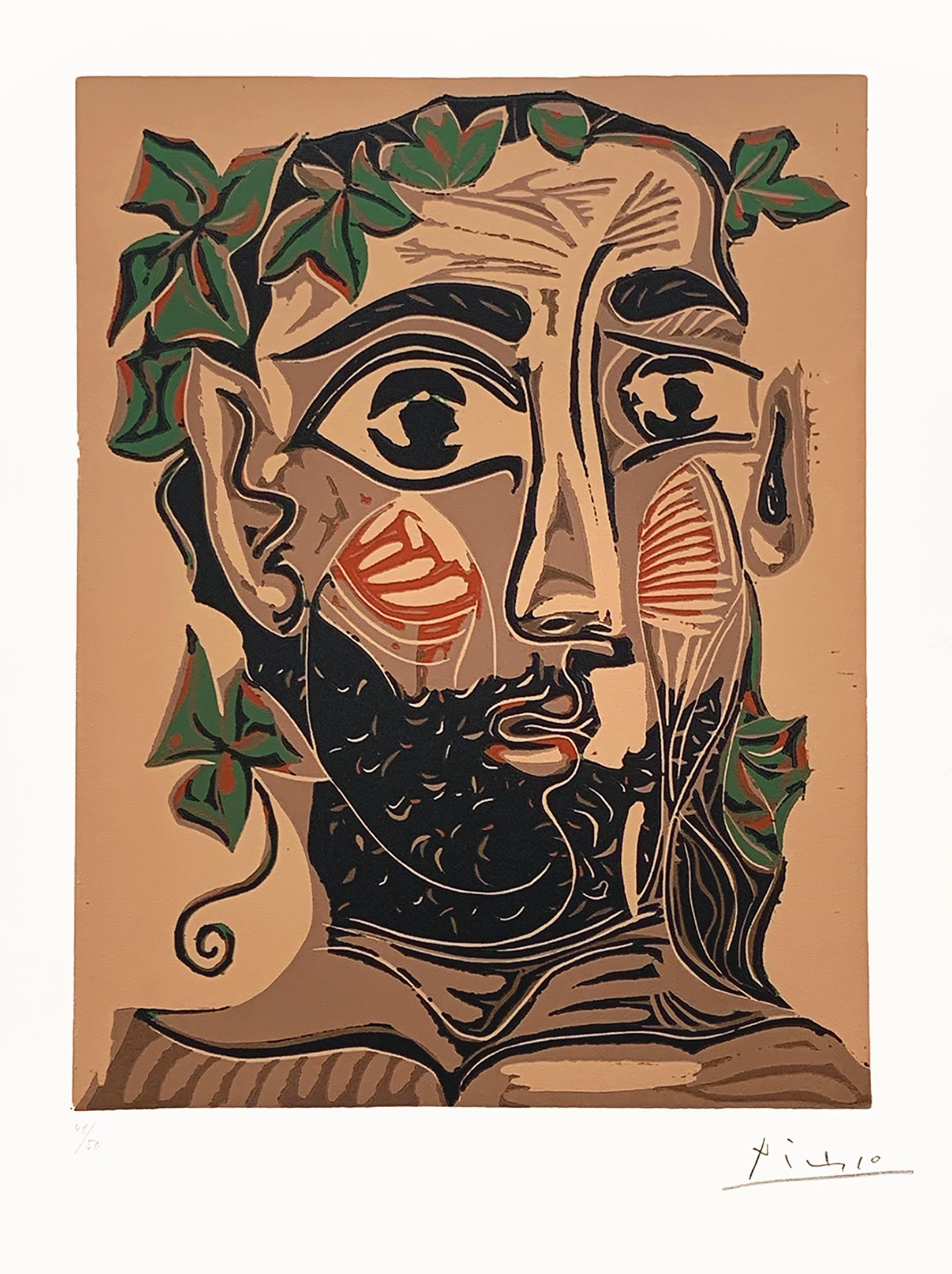 Bearded Man, Crowned With Green Leaves (artist's Proof) by Pablo Picasso