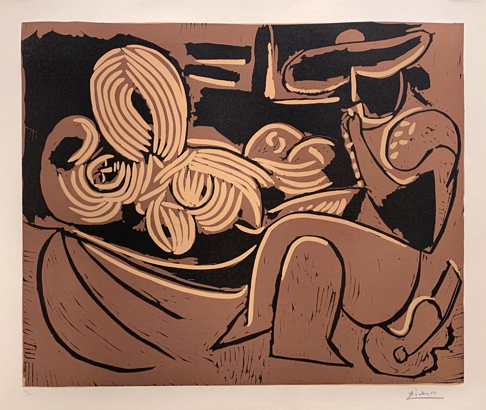 Femme Couchée Et Homme à La Guitare (woman Lying Down, And Man With Guitar) by Pablo Picasso