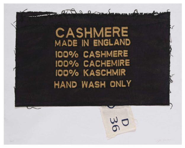 100% Cashmere, Made In England, Clothing Tag by Analia Saban at
