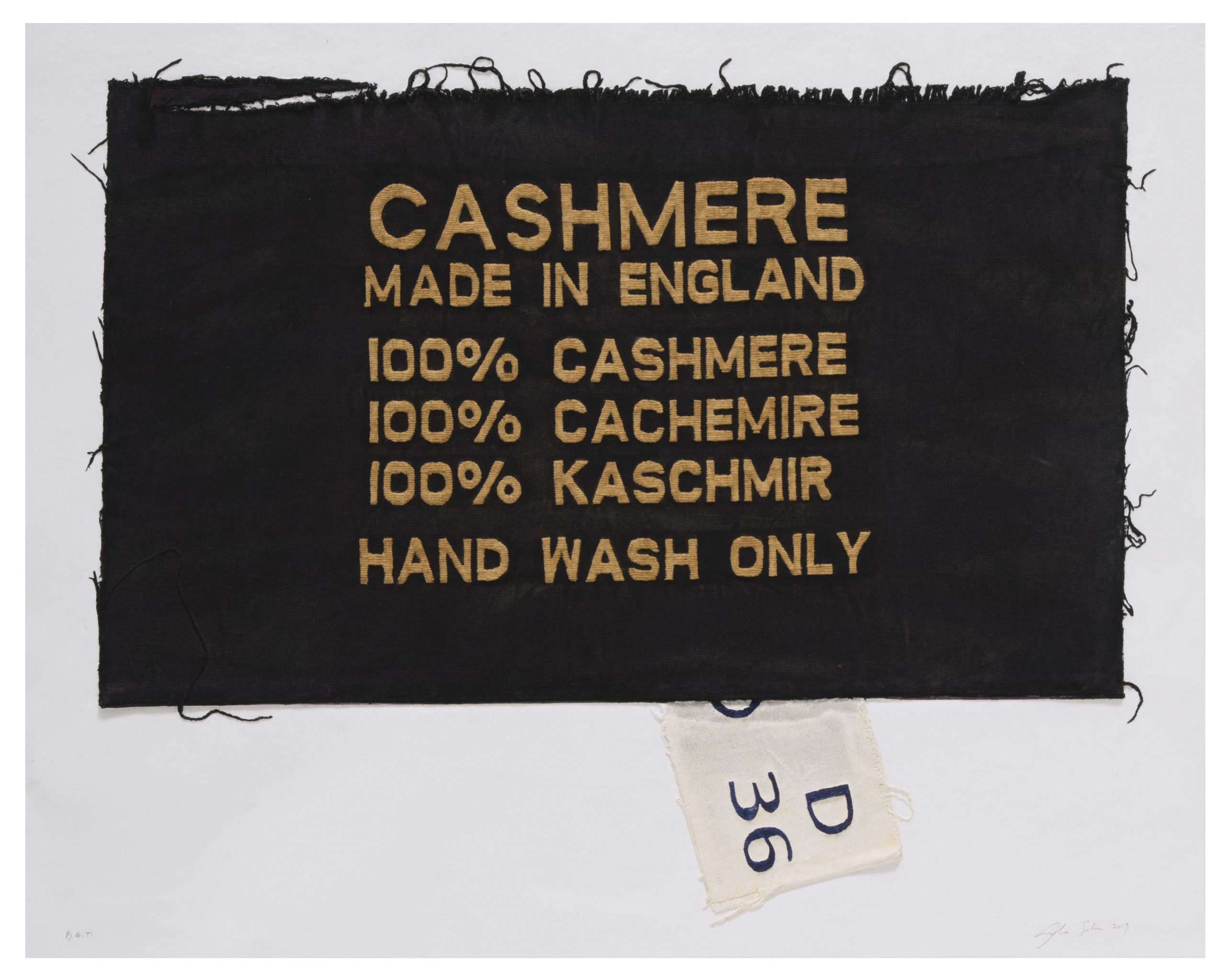 100% Cashmere, Made In England, Clothing Tag by Analia Saban