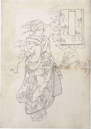 Preparatory Drawing Of A Standing Beauty With Blossoming Morning Glory Vines And An Untitled Cartouc... by Keisai Eisen