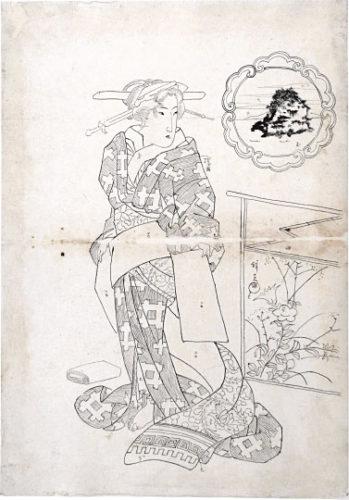 Preparatory Drawing For Print 'beauties Of Five Islands: Chikubu Island' by Keisai Eisen at