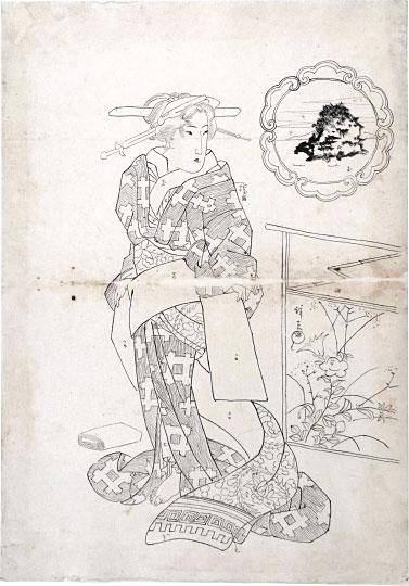Preparatory Drawing For Print 'beauties Of Five Islands: Chikubu Island' by Keisai Eisen
