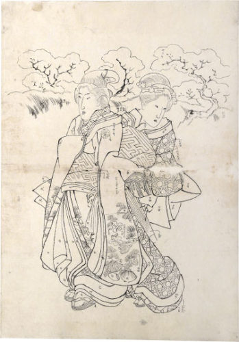 Preparatory Drawing Related To Right Sheet Of Triptych 'modern Choices' (mitate Tosei) by Utagawa Kuniyoshi at