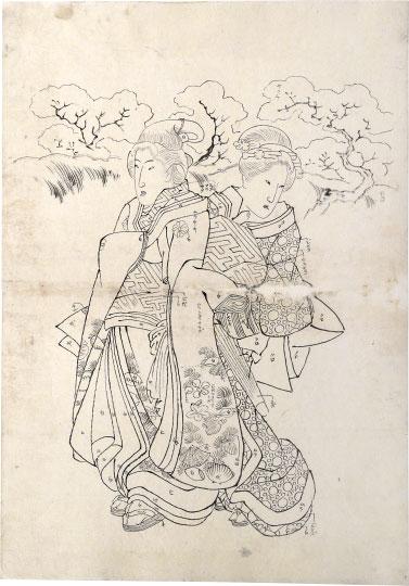 Preparatory Drawing Related To Right Sheet Of Triptych 'modern Choices' (mitate Tosei) by Utagawa Kuniyoshi