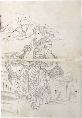 Preparatory Drawing Related To Right Sheet Of Triptych 'spring View With Fashionable WomenR... by Utagawa Kuniyoshi at