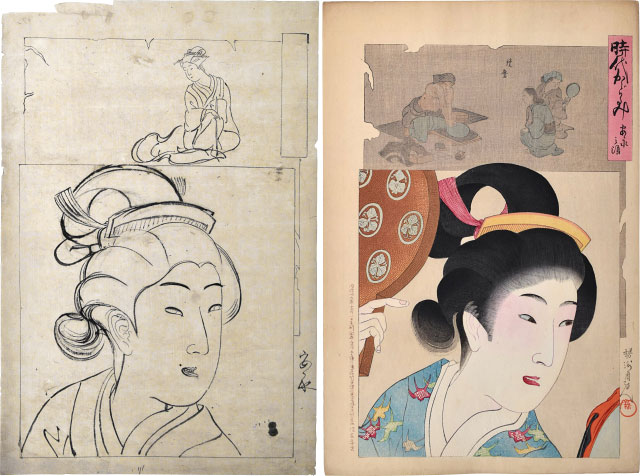 Preparatory Drawing With Print Of 'mirror Of The Ages: Lady In The An'ei Era' by Yoshu Chikanobu at Scholten Japanese Art