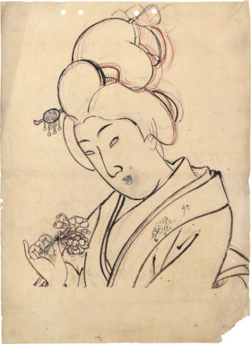 Cherry Blossom- Preparatory Drawing For Unpublished Design From The Series 'true Beauties̵... by Yoshu Chikanobu at Scholten Japanese Art