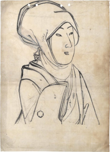 Head Scarf- Preparatory Drawing For Unpublished Design From The Series 'true Beauties' (... by Yoshu Chikanobu at Scholten Japanese Art